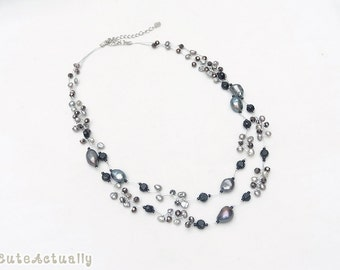 Black freshwater pearl necklace with crystal on silk thread, black pearl necklace, double strands necklace