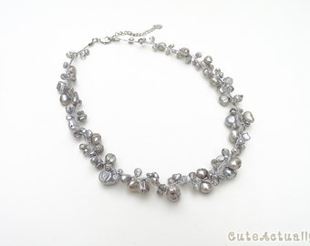 Silver gray freshwater pearl necklace with crystal on silk thread, gray pearl necklace, short, simple, bridesmaid necklace