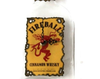 Fireball Whisky, Melted bottle, Recycled bottle, Fireball Wall Clock, Groomsman Gift, Gift for Mom, Fathers Day Gift, Melted Whisky bottle
