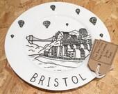 Bristol hand-illustrated, fine bone china plate