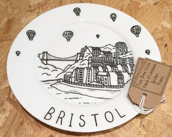 Bristol hand-illustrated, fine bone china plate
