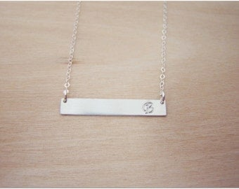 Silver Bar Necklace - Celebrity Inspired Hand-stamped Initial Name Sterling Silver Bar Minimalist Necklace / Gift for Her - Bar Necklace