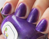 Orchidae Nail Polish - vibrant purple with pink and gold glass flecks