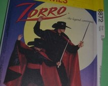 McCalls 8872 Childrens Zorro Costume Sewing Pattern UNCUT -  Childs  Sizes 5 6 or Childs Size 10 12