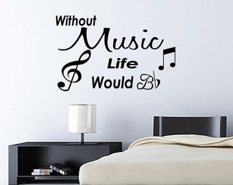 Wall Quotes Without Music Life Would B Flat Removable Wall Sticker Wall Decal Quote Sticker Music Notes (C177)