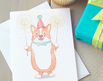 Corgi Birthday Sparklers Card