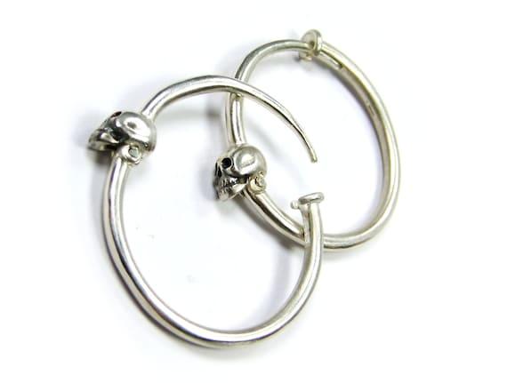 Skull Earrings Skull Hoops Sterling Gauged Silver Earring Goth Hoop Earrings Punk Psychobilly Jewelry