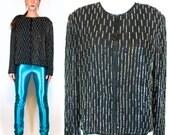Vintage 80s ART Deco Black Silk Beaded / Sequined Vertical Stripe Mini Dress Jacket / Cocktail Shrug. Boho Draped Coat. Extra Small - Medium