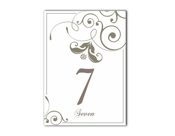 Table numbers printable wedding table card template diy for Table numbers