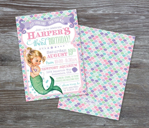 Mermaid Invitaiton Shabby Chic vintage first second third birthday girl meramid party invite under the sea pirate   Digital  File, You Print