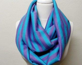 Stripe Knit Fabric Infinity Scarf, Circle Scarf, Scarves, Shawls, Cowl, Fall - Winter Fashion