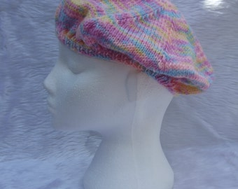 Hand knitted ladies beret style hat in lilac blue and pink - ladies knitwear - women's headwear - winter clothes - knitted hat