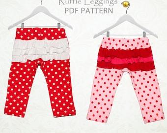 Baby leggings pattern, baby sewing pattern, baby pants pattern pdf, leggings pattern, girls sewing pattern, BABY RUFFLE LEGGINGS