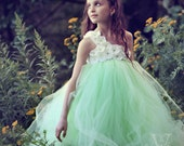 Mint Flower Girl Dress-Tutu Dress..Birthday Tutu Dress.. Flower girl dress...Mint Tutu Dress.. Flower girl tutu