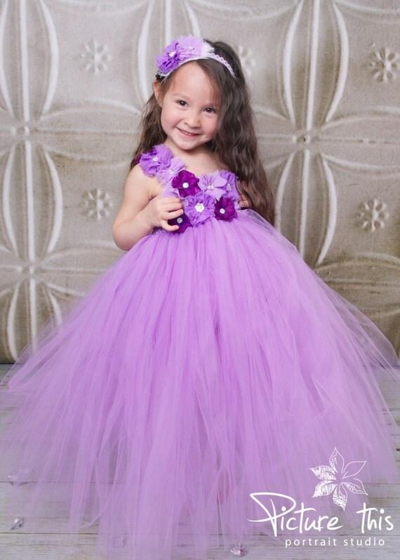 Purple flower girl tutu dresses