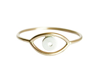 Gold Evil Eye Ring, Third Eye Ring, Thin Gold Ring, Simple Gold Ring, Delicate Ring, Eye Ring, Mixed Metal Ring, Gold & Silver Evil Eye Ring