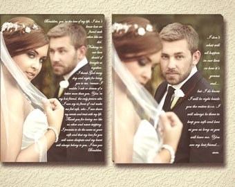 His and Hers Wedding Vow Wall Art on Stretched Canvas - Professional Photo Editing Included