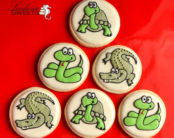 Turtles, Crocodiles and Snakes; Goodness Sakes!  Reptile Cookies (quantity: 12)