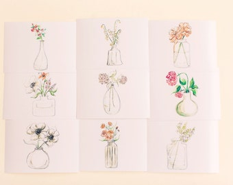 Flowers in Vases Print Set, Set of 9 Floral Prints