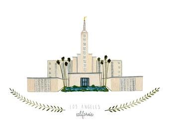 Los Angeles California LDS Temple Illustration - Archival Art Print
