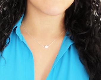 Dainty Hamsa Necklace, Silver Sideways Hamsa Necklace, Hand of Fatima Necklace, Tiny Hamsa, Tiny Hand, Sideways Hand, Evil Eye