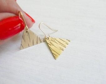 Triangle Earrings Brass Earrings Jewelry For Her Under 30