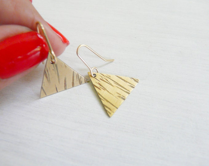 Triangle Earrings Brass Earrings Jewelry For Her Under 30