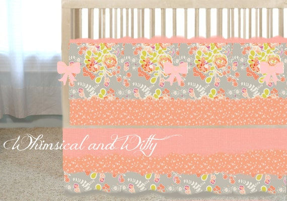 items similar to gray and peach floral baby crib bedding on etsy. Black Bedroom Furniture Sets. Home Design Ideas
