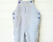 Vintage Baby Clothes/Baby Boy Overalls, Seersucker Baby Overalls in Blue and White Pinstripes, Size 6 to 9 Months. #