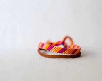 Friendship Bracelet Stripes Magenta Peach and Orange / Stocking Stuffer