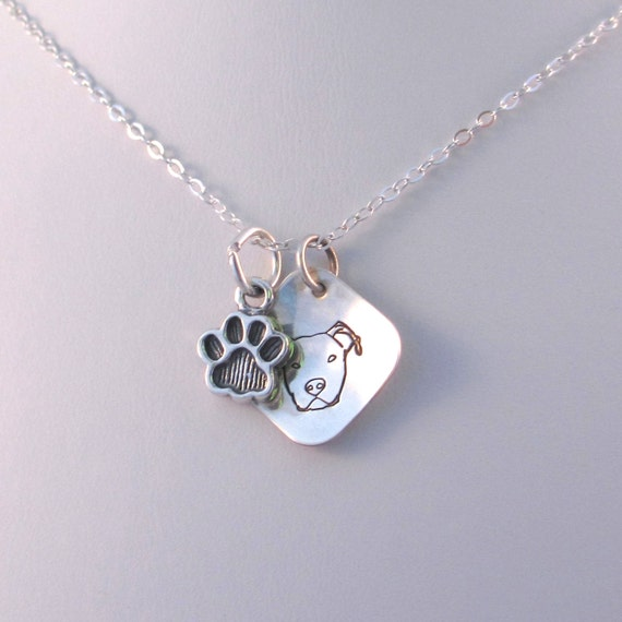 pitbull jewelry pit bull terrier necklace sterling silver paw charm 9223