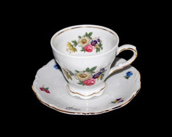 Vintage Mitterteich Meissen Floral Footed Cup and Saucer Set