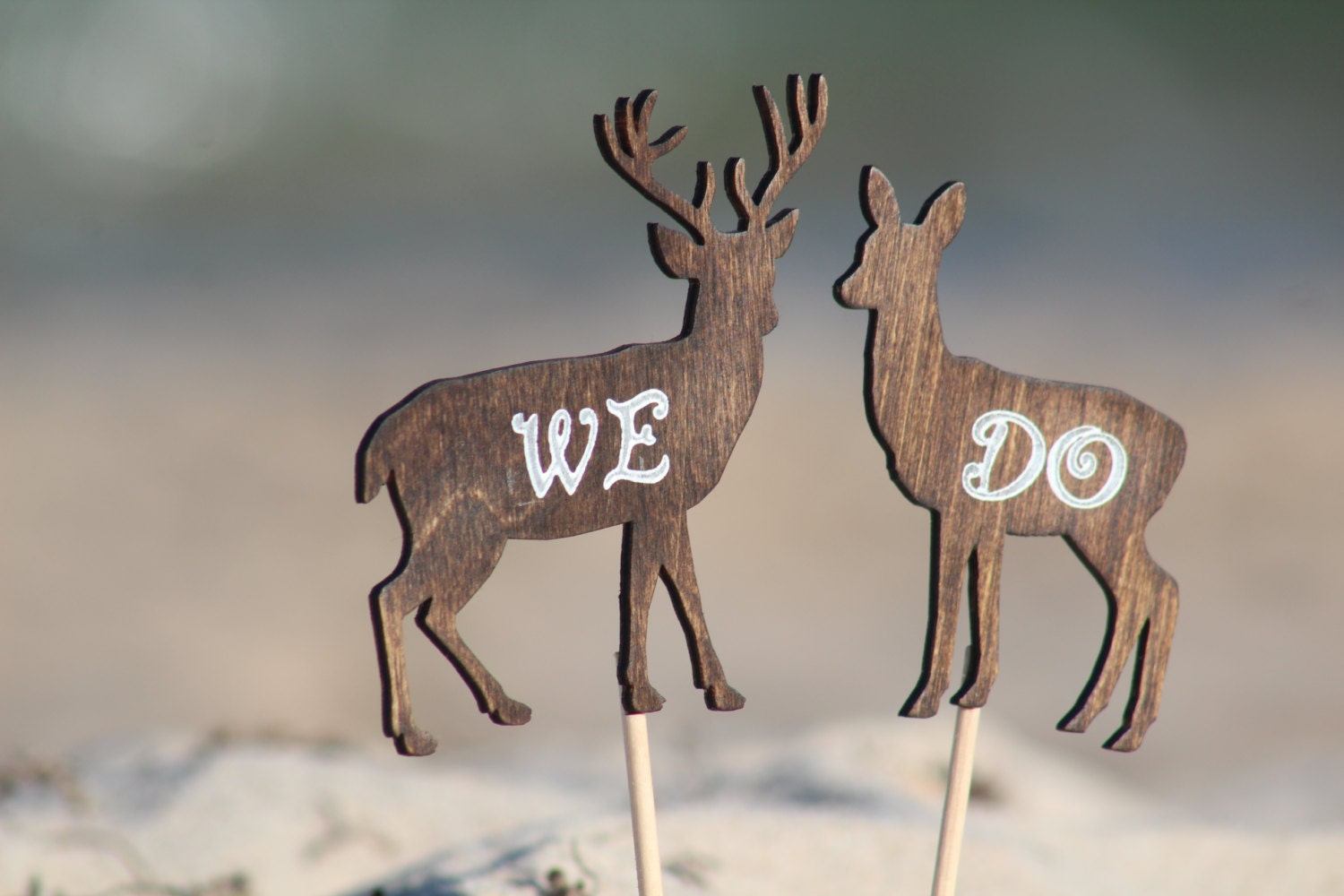 Deer Cake Topper We Do Mr & Mrs Deer Beach wedding Bride