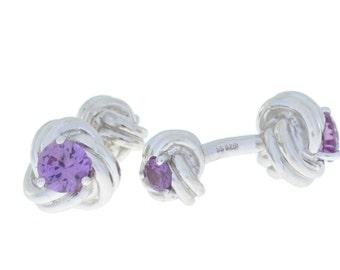 2.5 Ct Alexandrite Knot Cufflinks .925 Sterling Silver Rhodium Finish