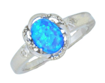 Blue Opal & Diamond Oval Ring .925 Sterling Silver Rhodium Finish