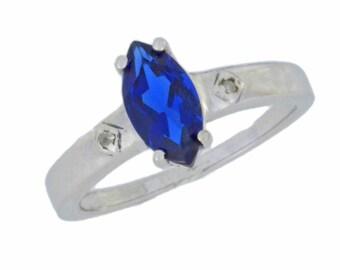1 Ct Blue Sapphire & Diamond Marquise Ring .925 Sterling Silver Rhodium Finish
