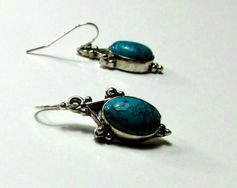 Turquoise and Ornate Silver on a Sterling Silver Earwire