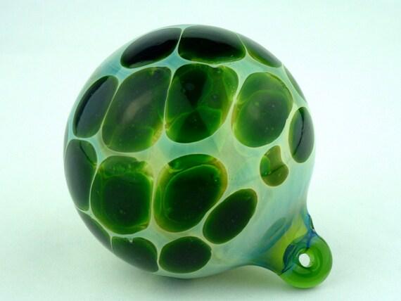 Handblown Silver-Fumed Green Glass Ornament with Polka Dots