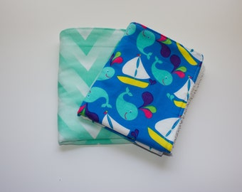 Baby Burp Cloths, Multi Colored Whales And Sailboats, Nautical Theme, Sea Green Ombre Chevron, Baby Shower Gift, Nursery Decor,