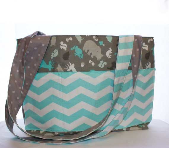 gray blue white diaper bag with forest animals bears deer. Black Bedroom Furniture Sets. Home Design Ideas