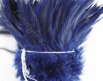 "200+ Feathers, Navy Blue, Rooster saddle, 3-5"" Wholesale, bulk, feathers, 1 foot strung piece"