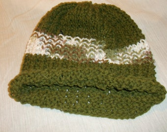 Olive and Multi-Colored Hand Knit Cap
