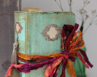 Boho beach wedding guest book OR photo album tied with multicoloured rustic silk 8.5x6 inches - By Lotus Blu Book Art