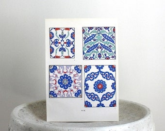 Blue Turkish Tile Print  c. 1940s 9 1/4 x 13 inches