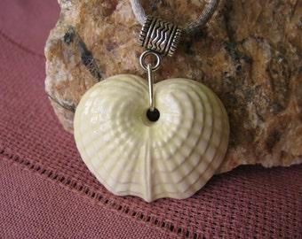 Ceramic Seashell Pendant Necklace Pale Yellow Glaze Satin Cord SIlvertone Clasp