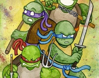 Teenage Mutant Ninja Turtles, Michelangelo, Donatello, Leonardo, Raphael, Original Watercolor Painting
