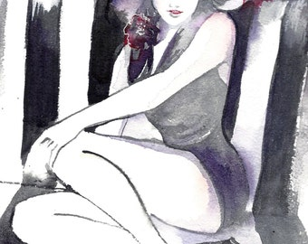 Original Watercolor Illustration - Figurative Watercolor Painting Titled: Art Deco - The Bath