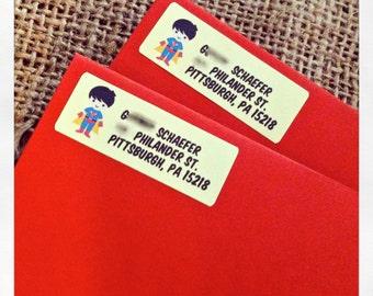 """60 Superhero Kids Return Address Labels 2/3"""" x 1-3/4"""""""