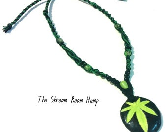 Handmade Hemp Leaf Pendant Adjustable Necklace with Black and Green hemp and glass beads