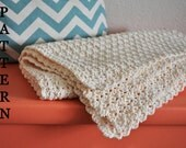 Pattern - Simple Scallop Crochet Baby Blanket for Baby Girl or Baby Boy - Instant Download